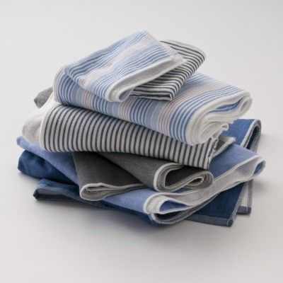 Japanese striped chambray-and-terrycloth towels