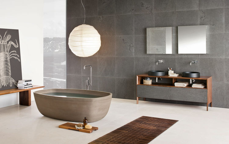 Inkstone bathtub in Sand Brown stone, Inkstone wash-basins, Black Rock stone, and Neos furniture