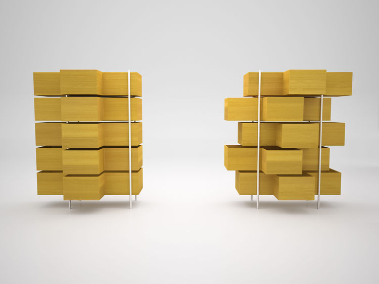 Sliding cabinets by Nendo for Bisazza Bagno