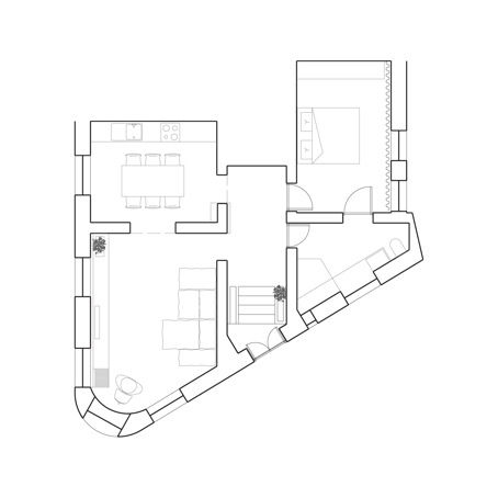 Floor Plan of Slab Apartment in Athens, Greece