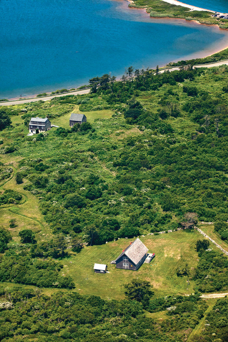 Aerial view of Jens Risom's vacation home on Block Island