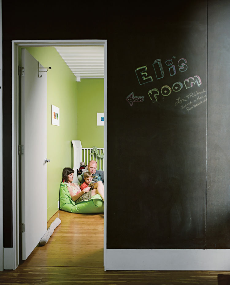 "The wall outside Eli's room is covered with chalkboard paint, adding another method by which to leave messages around the magnetic house. The room measures in at just under 7.5 by 14 feet. ""It was extremely necessary at some point to confront the constrai"