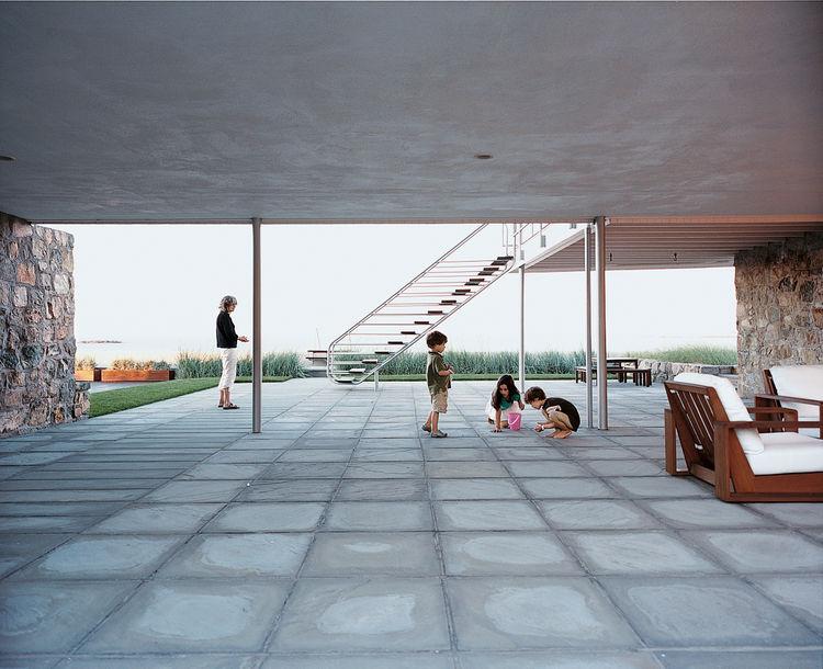 Covered concrete clad patio