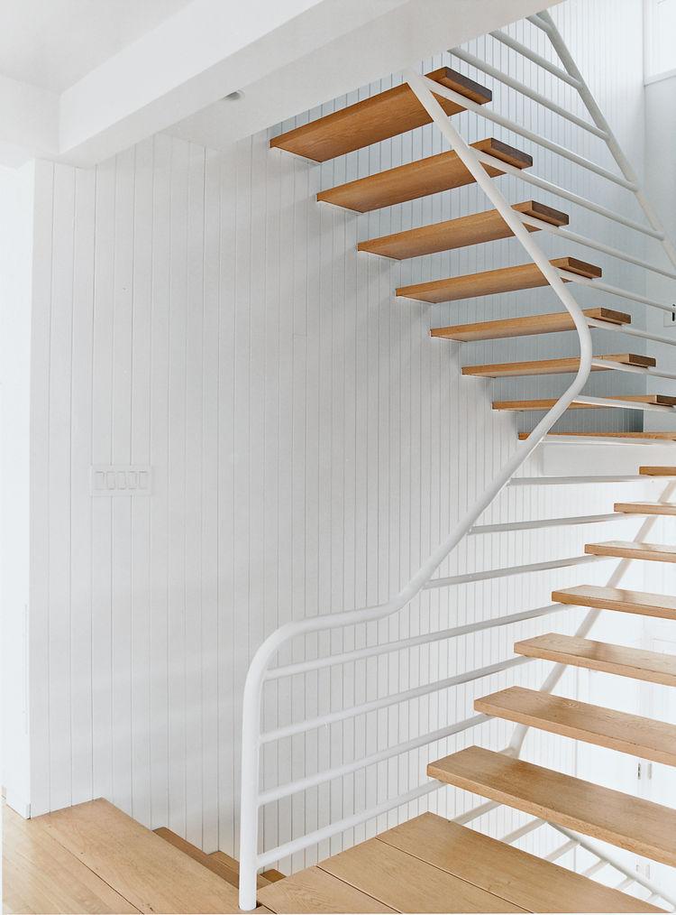 Oak tread cantilever staircase