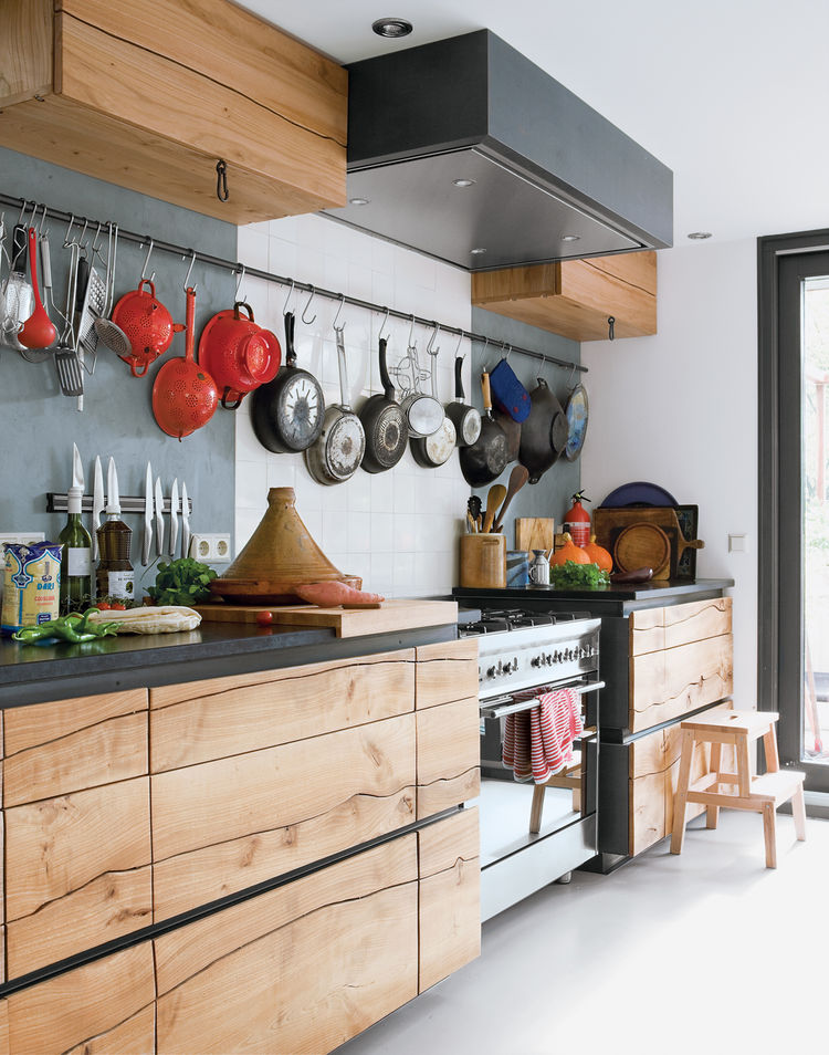 Modern kitchen with elm cabinets