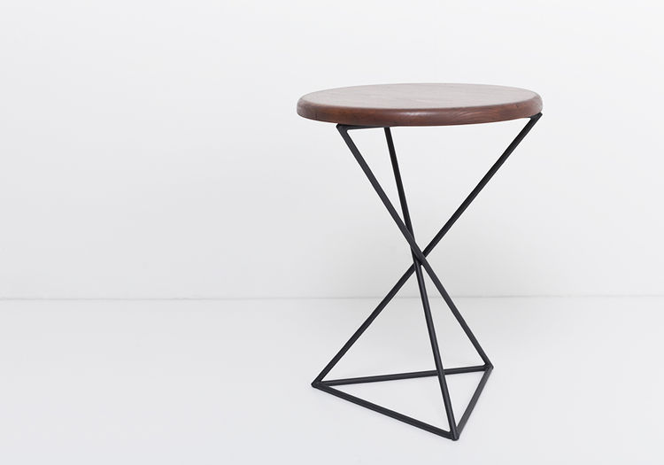 pyramid stool with wood top and metal base