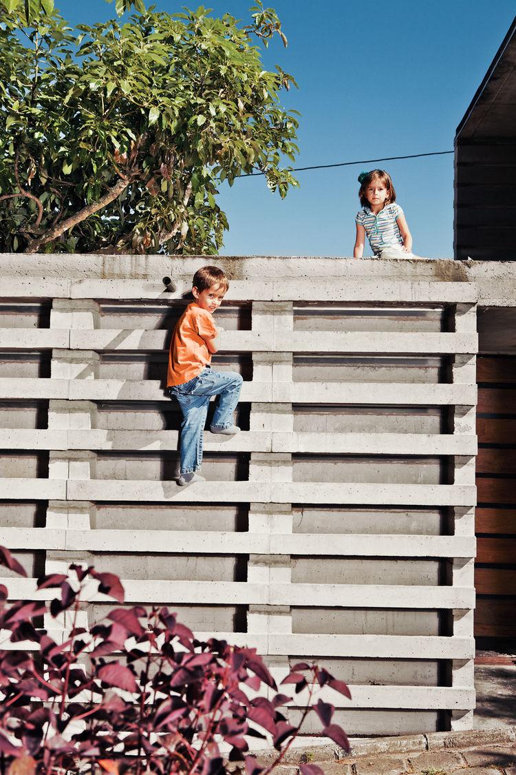 Outdoor concrete block climbing wall