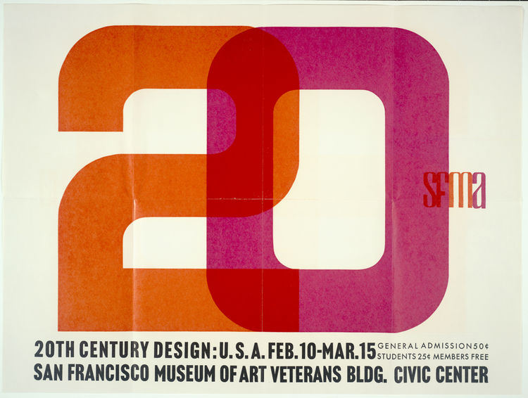 "<i>20th Century Design U.S.A.</i> exhibition poster (1960), designer unknown. From the SFMoMA Collection. On display as part of the SFMoMA's <a href=""http://www.sfmoma.org/exhibitions/411""><i>75 Years of Looking Forward: Dispatches from the Archives</i></"