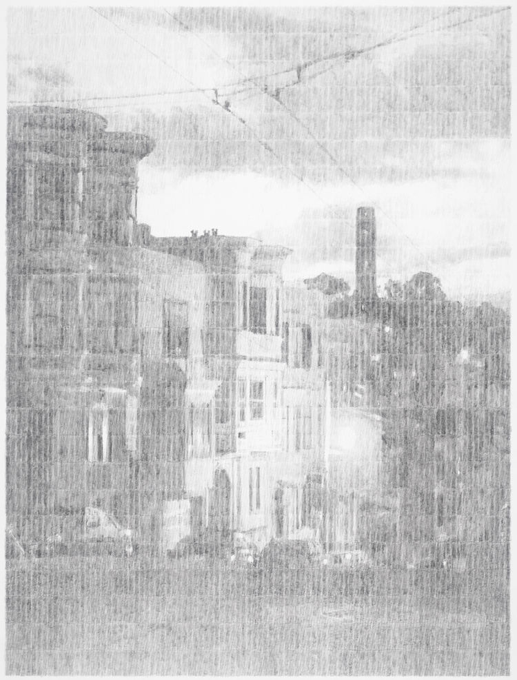 San Francisco Victorian graphite drawing by Ewan Gibbs