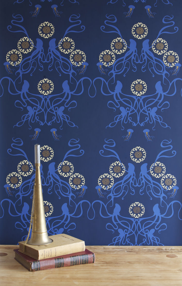 Captain Smith hand-printed wallpaper in Promenade by Grow House Grow