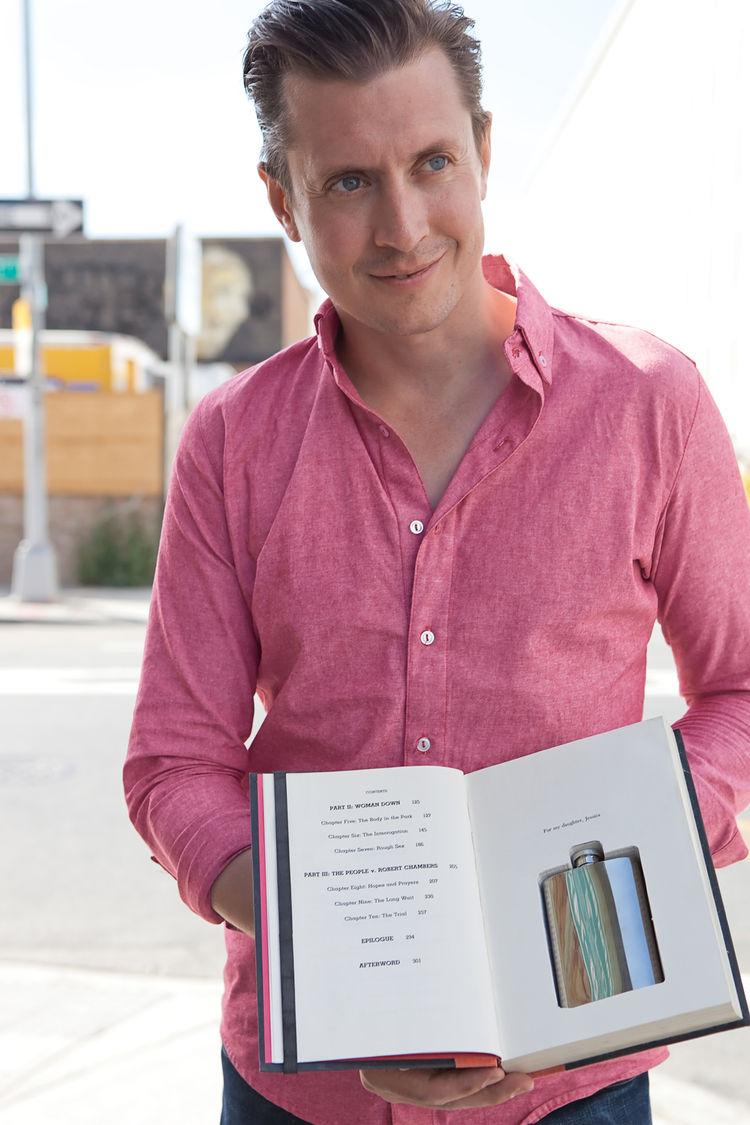 Hidden flask inside a book