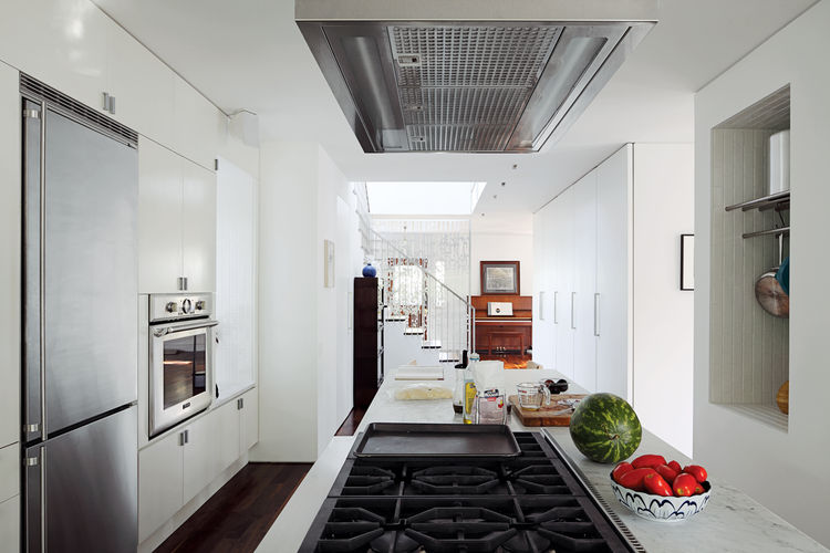 Modern kitchen with open stove
