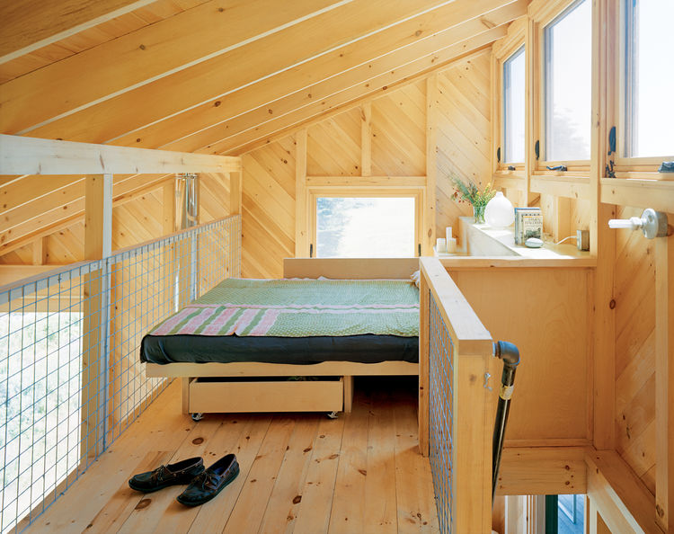 White pine clad bedroom