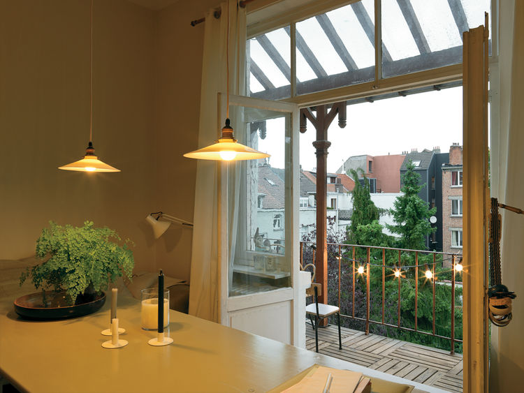 Modern dining room with German beer-garden table
