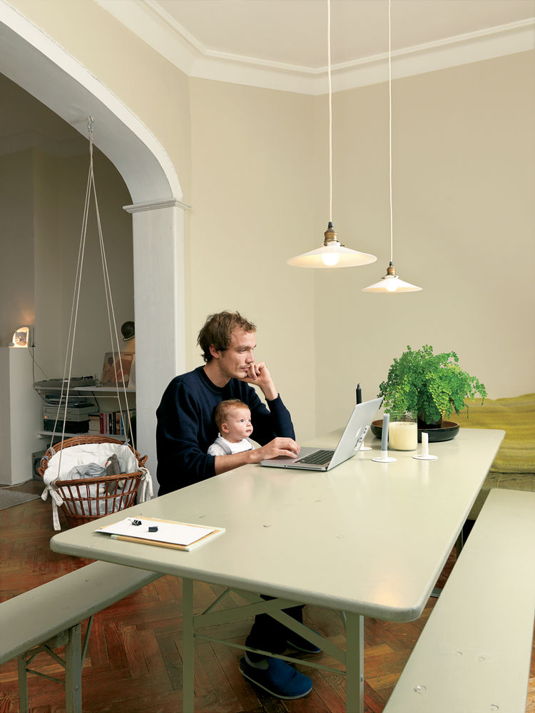Modern dining room with beer-garden table