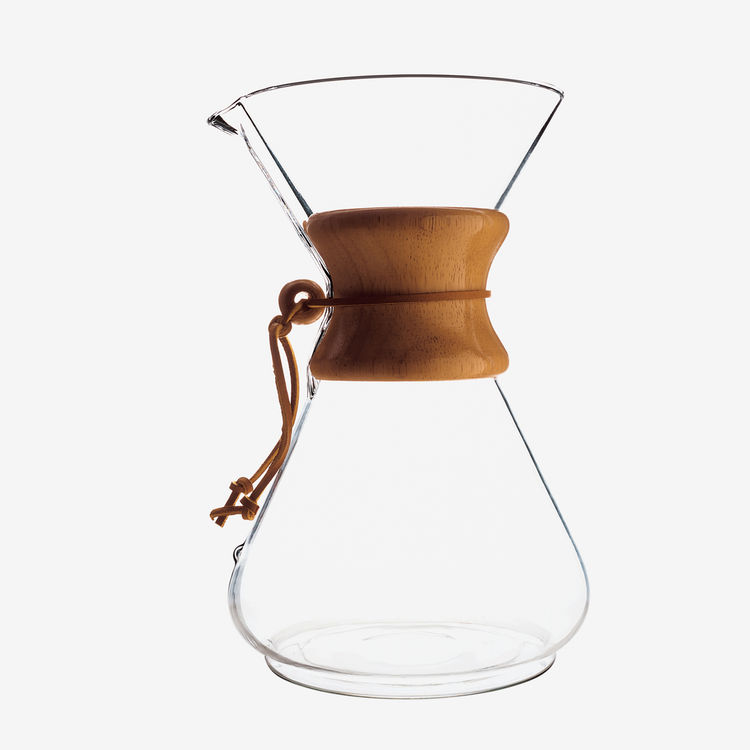 Coffee glass and leather carafe
