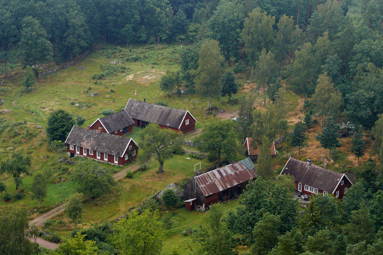 Aerial view of renovated barns in Sweden