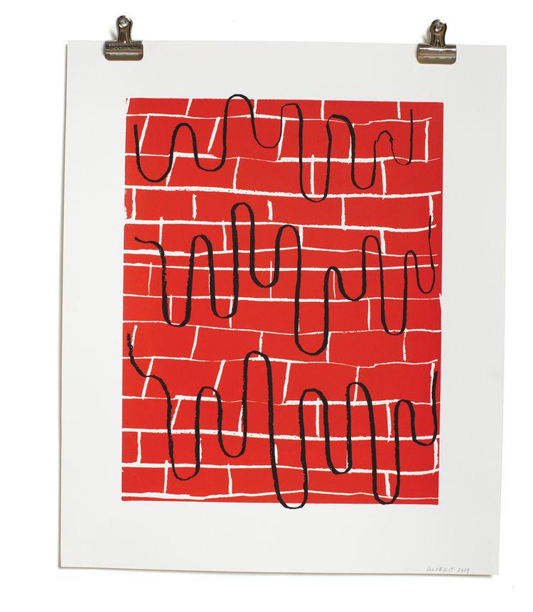 Bricks and Drips print by Gluekit