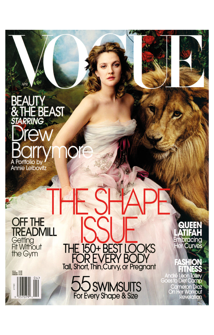 Vogue cover shot by Annie Leibovitz featuring Drew Barrymore