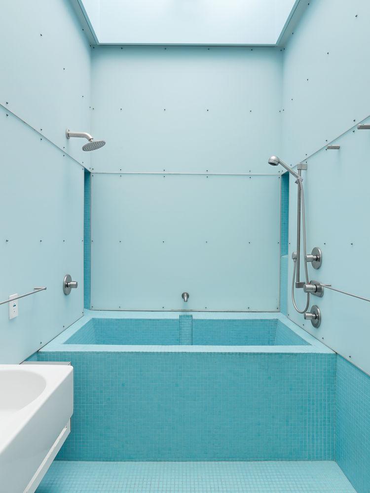 Blue mosaic tile outdoor shower