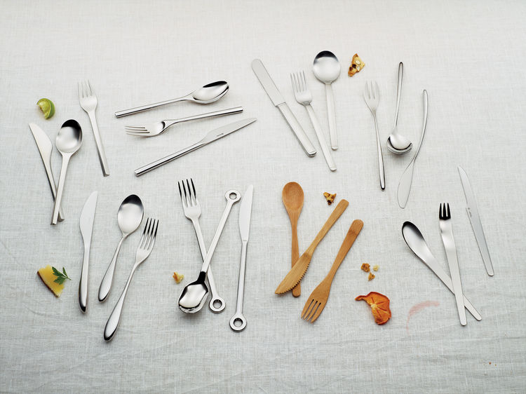 Modern stainless steel and wooden cutlery
