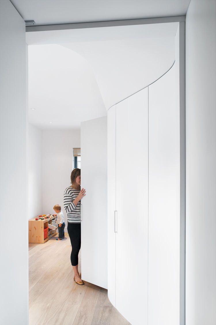 Children's bedroom with tall storage closets