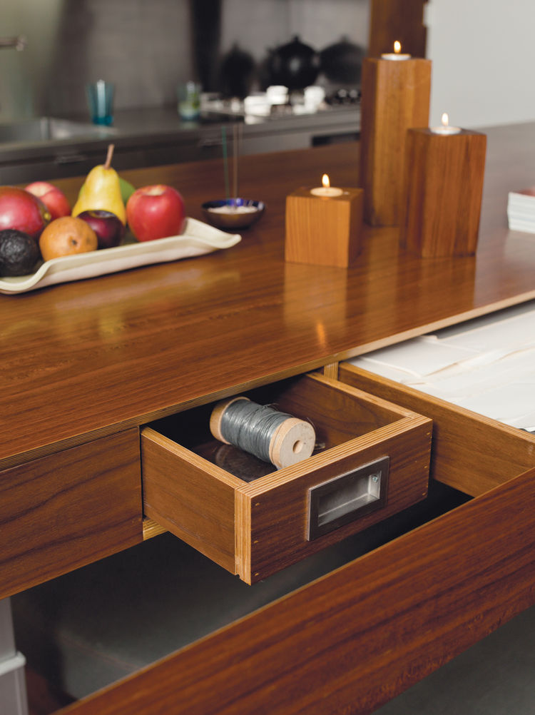 Wood kitchen storage drawers