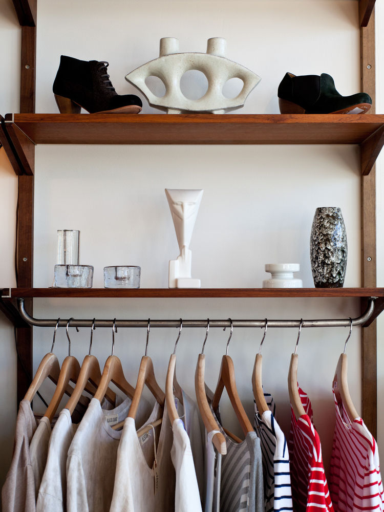 Clothing rack and decorative objects at Mohawk General Store