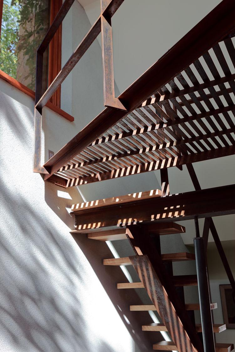 Thin strips of birch board in the second-floor hallway