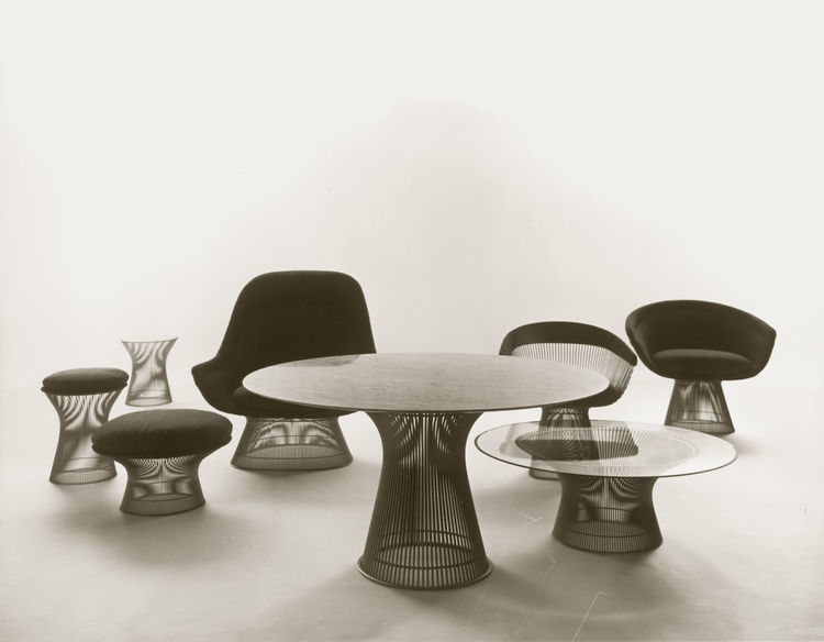Group shot of Warren Platner's Wire Series for Knoll