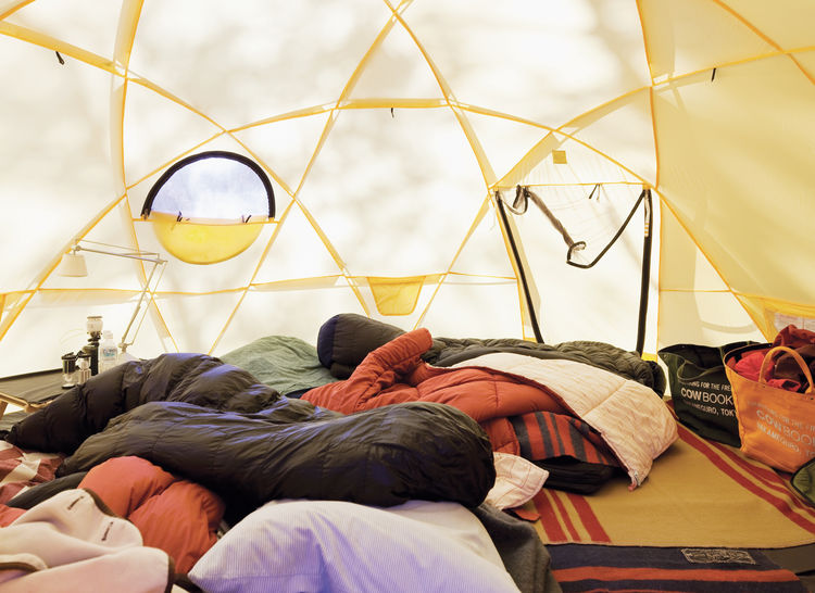 Interior of the yellow North Face tent
