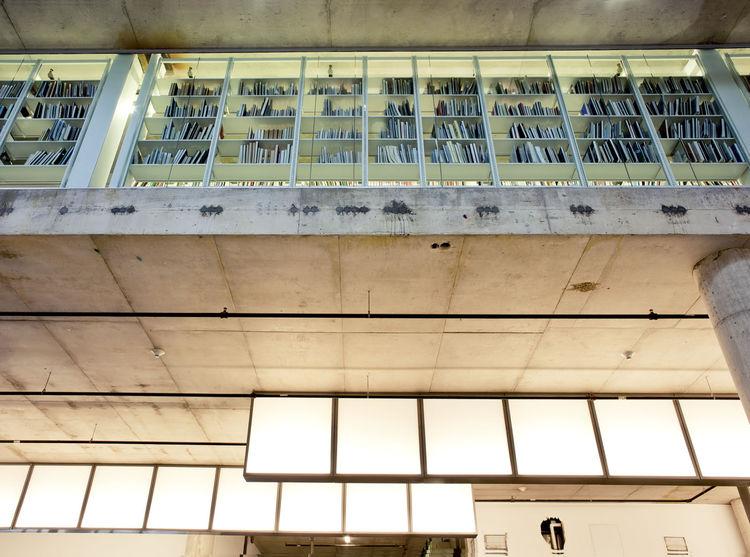 Downstairs view of glowing bookshelf box