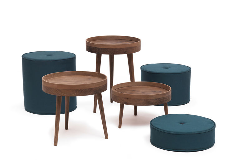 Upholstered walnut stools