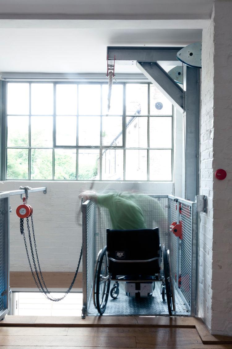 Steel wheelchair pulley in London renovation