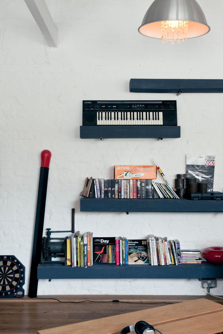 Open shelving in modern living room