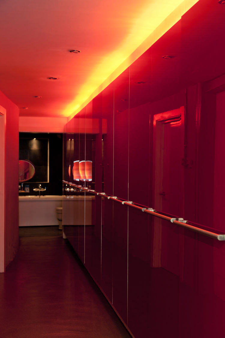 Red hallway in modern house