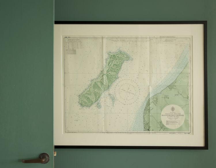 Framed topographic map of Kapiti Island