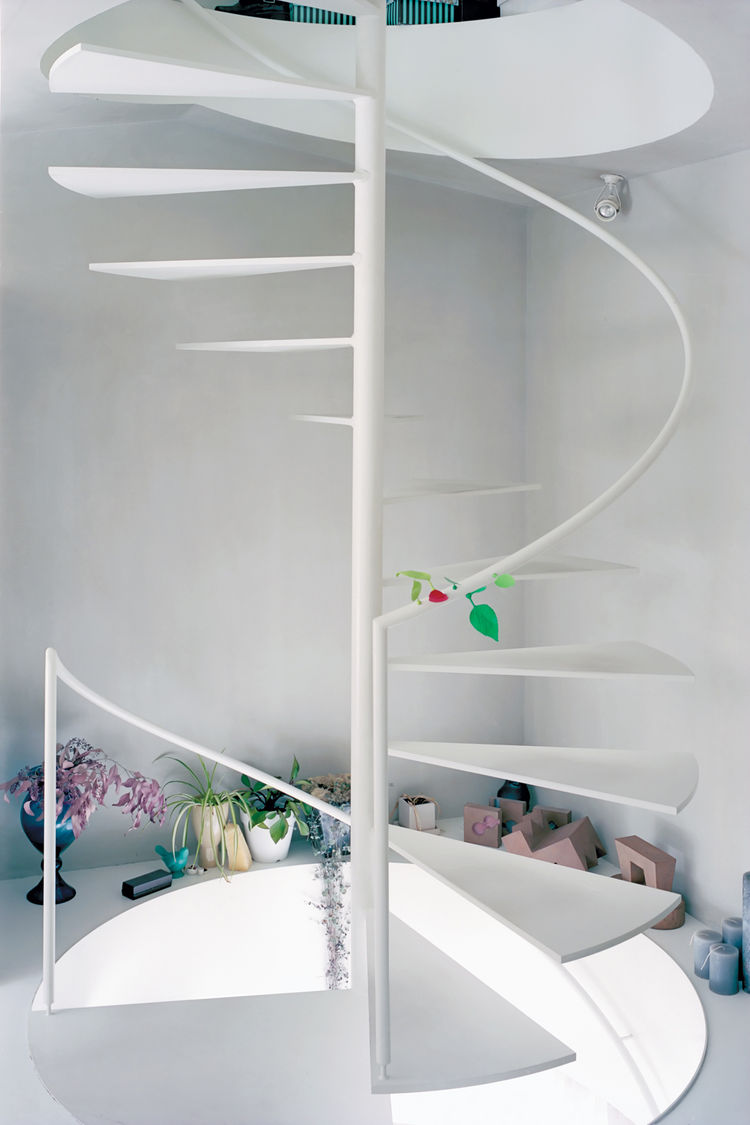 White steel spiral staircase