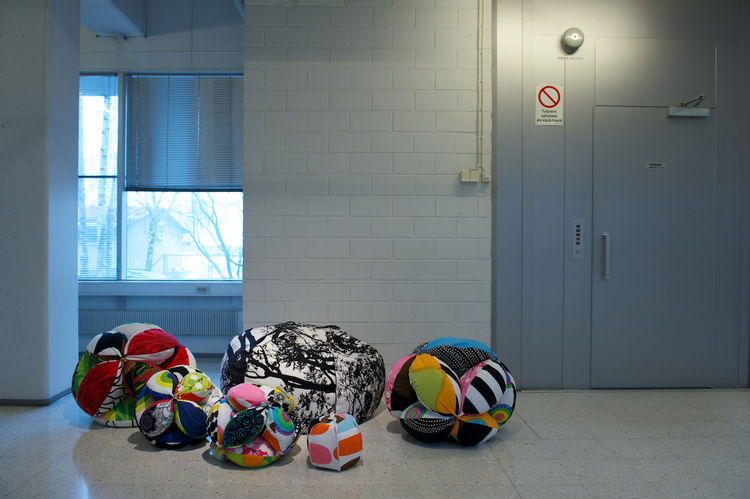 Pouffes made of various Marimekko prints