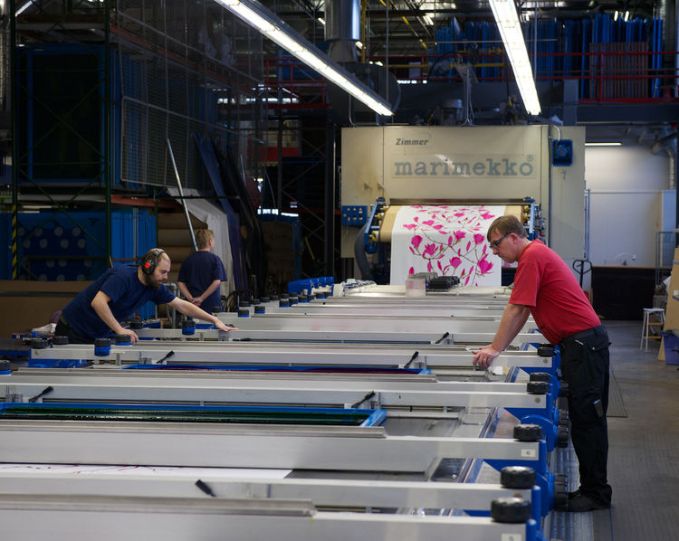Printing fabrics at the Marimekko factory in Helsinki, Finland