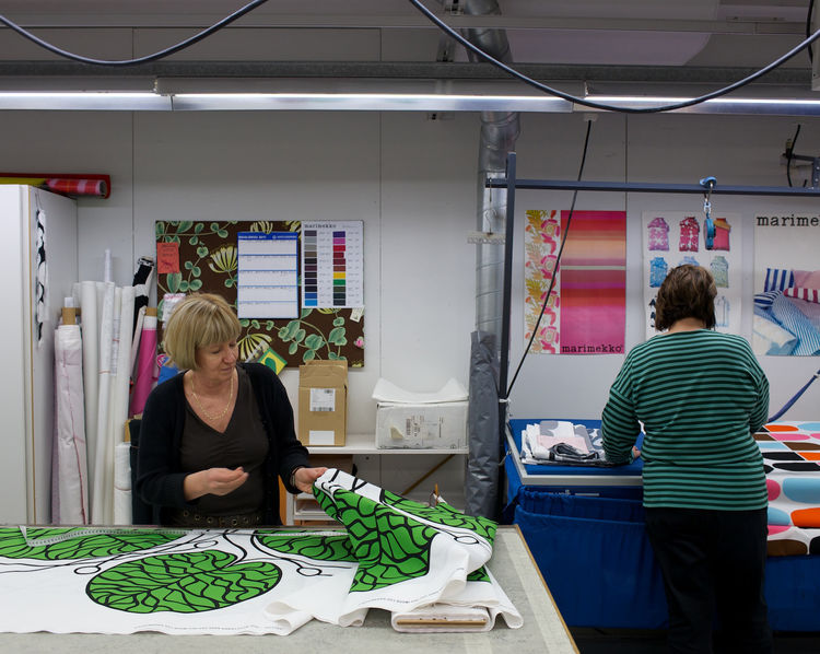 Sewing room at Marimekko factory in Helsinki, Finland