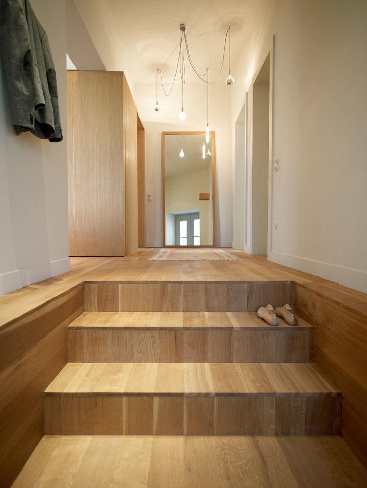 White oak wide stairway