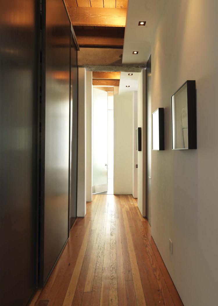 Living room extending hallway