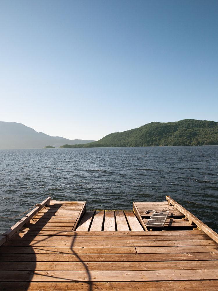 Cedar dock with a view of Bowen Island