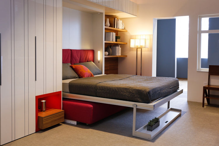 Modern small space bedroom with folding bed