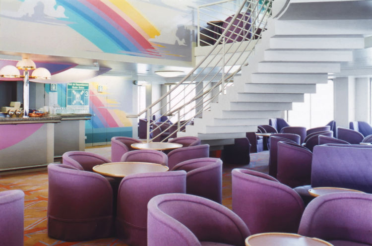 Furniture design for the Fantasia and the Fiesta ferries by Warren Platner