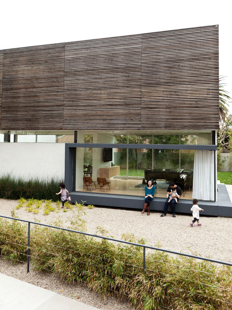 Modern eco house yard exterior view