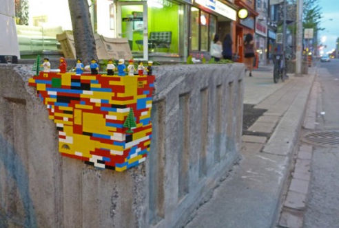 lego bombing wall