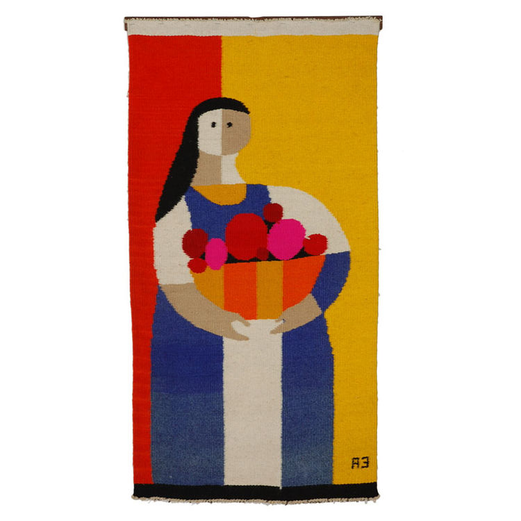 "Tapestry by Evelyn Ackerman<br /><br /> U.S.A., 1962<br /><br />  ""Evelyn Ackerman and her husband Jerry were important exponents of the post-war Southern California design scene. Evelyn's work was largely figurative, while Jerry's was more usually abstra"