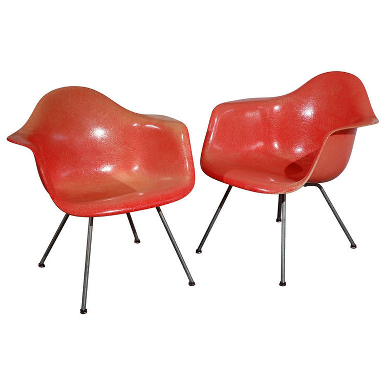 "Very Early Charles Eames ""LAX"" Lounge Chairs<br /><br /> U.S.A., 1950<br /><br /> ""These Eames fibreglass lounge chairs are from the very first year of production, 1950. They are distinguished by their hand-made ""rope-edge"" Zenith shells and early lounge-"